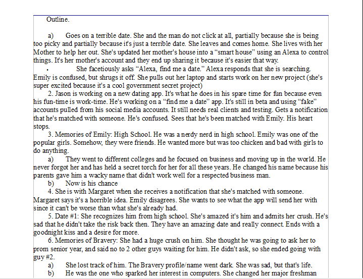 An example of a chapter by chapter outline