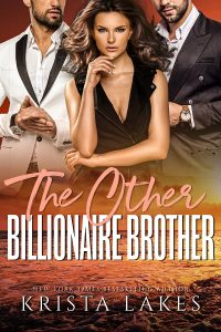 The cover of The other billionaire brother. two men in contrasting suits behind a woman in a thinking pose. bottom is a sunset over the ocean